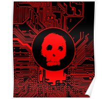 Red Blurry Skull (Cybergoth) Poster