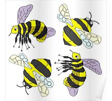 2 Bee Montage design pattern Poster