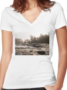 Whiskey River - Rapid Currents and Soft Fog Women's Fitted V-Neck T-Shirt