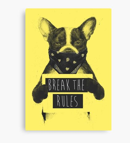 Rebel dog (yellow) Canvas Print