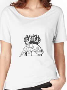 Chef Carry Alligator Grill Cartoon Women's Relaxed Fit T-Shirt