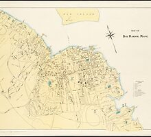 Vintage Map of Bar Harbor Maine (1897) by BravuraMedia