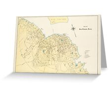 Vintage Map of Bar Harbor Maine (1897) Greeting Card
