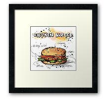 Chicken Burger Watercolored Illustration Framed Print
