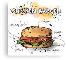 Chicken Burger Watercolored Illustration Canvas Print
