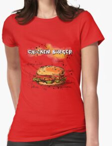 Chicken Burger Watercolored Illustration Womens Fitted T-Shirt