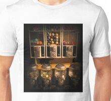 Gumball Memories - Row of Antique Vintage Vending Machines - Series - Iconic New York City Unisex T-Shirt