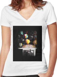 Gumball Memories in Silver - Series - Iconic New York City Women's Fitted V-Neck T-Shirt