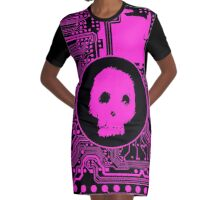 Pink Blurry Skull (Cybergoth) Graphic T-Shirt Dress