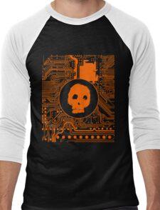 Orange Blurry Skull (Cybergoth) Men's Baseball ¾ T-Shirt