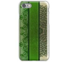 Green stripe and flower iPhone Case/Skin