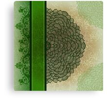 Green stripe and flower Canvas Print