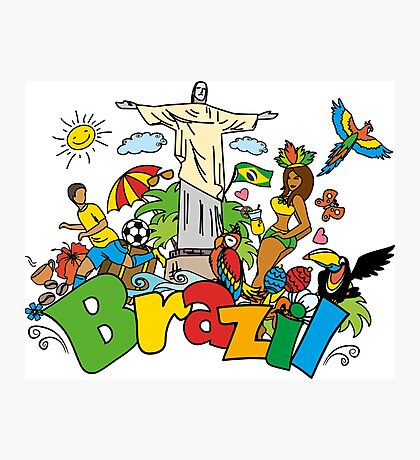 Funny cartoon brazil picture Photographic Print