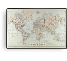 Vintage Map of The World (1875)  Canvas Print