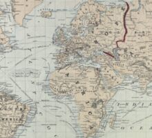 Vintage Map of The World (1875)  Sticker