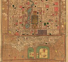 Vintage Map of Beijing China (1914) by BravuraMedia
