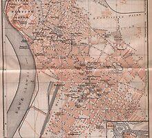 Vintage Map of Belgrade Serbia (1905) by BravuraMedia