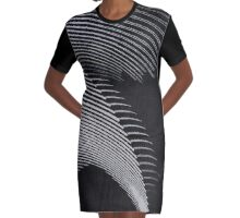 Gray waves, line art, curves, abstract pattern 2 Graphic T-Shirt Dress