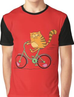 Funny cat on bicycle and mouse Graphic T-Shirt