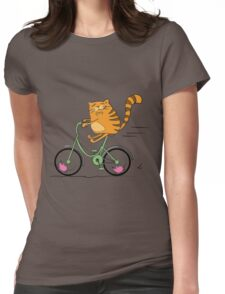 Funny cat on bicycle and mouse Womens Fitted T-Shirt