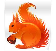 Orange Squirrel Holding Nut Poster