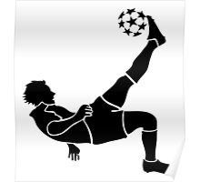 Soccer Mid-Air Kick Silhouette Poster
