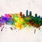 Corpus Christi skyline in watercolor background by paulrommer