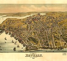 Vintage Pictorial Map of Beverly MA (1886) by BravuraMedia