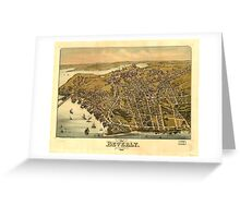 Vintage Pictorial Map of Beverly MA (1886) Greeting Card