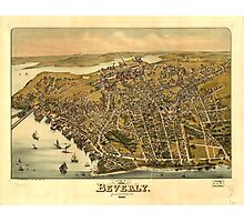 Vintage Pictorial Map of Beverly MA (1886) Photographic Print