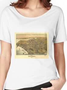 Vintage Pictorial Map of Beverly MA (1886) Women's Relaxed Fit T-Shirt