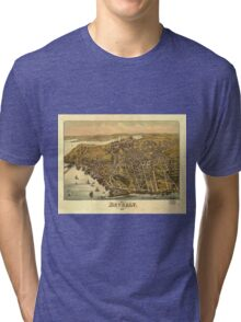 Vintage Pictorial Map of Beverly MA (1886) Tri-blend T-Shirt