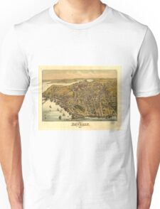 Vintage Pictorial Map of Beverly MA (1886) Unisex T-Shirt