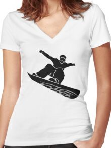 Snowboarder Design Silhouette Women's Fitted V-Neck T-Shirt