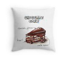 Chocolate Cake Slice Illustration Throw Pillow