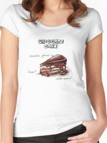 Chocolate Cake Slice Illustration Women's Fitted Scoop T-Shirt