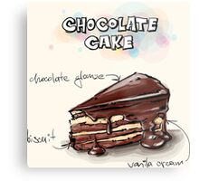 Chocolate Cake Slice Illustration Metal Print