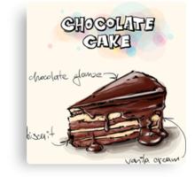 Chocolate Cake Slice Illustration Canvas Print