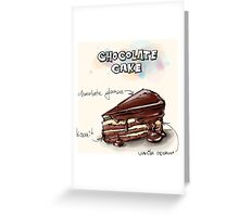 Chocolate Cake Slice Illustration Greeting Card