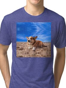 Welsh Corgi on the Beach Tri-blend T-Shirt