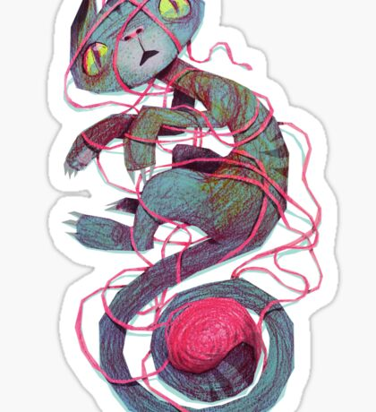 cat + thread Sticker