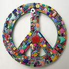 Funky Found Object Mosaic Peace Sign ReTRo Chic by GeminiMoon