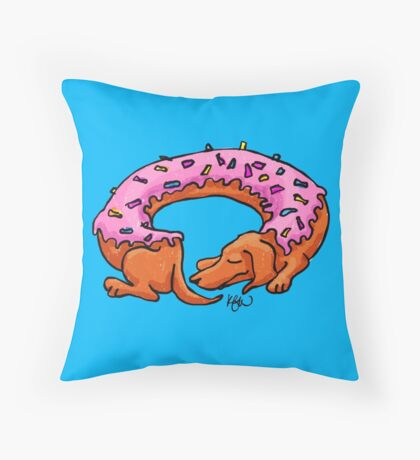 Doughtshund with sprinkles Throw Pillow