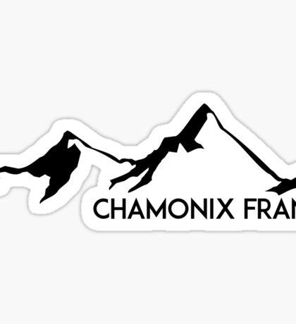 SKIING CHAMONIX MONT BLANC FRANCE Ski Mountain Mountains Skis Silhouette Snowboard Snowboarding Sticker