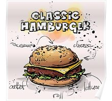 Classic Hamburger Illustration with Ingredients Poster
