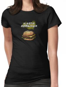 Classic Hamburger Illustration with Ingredients Womens Fitted T-Shirt