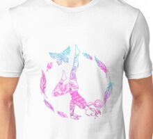 yoga girl with feathers and butterfly mandala 2 Unisex T-Shirt