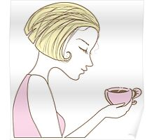 beautiful girl with a cup of coffee Poster