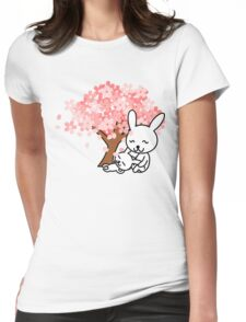 Anime Rabbits Under Tree Womens Fitted T-Shirt