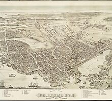 Vintage Pictorial Map of Portsmouth NH (1877) by BravuraMedia